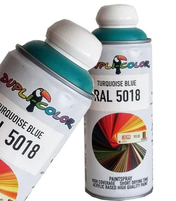 اسپری رنگ فیروزه ای RAL 5018 حجم 400 رنگ اکریلیک دوپلی کالر